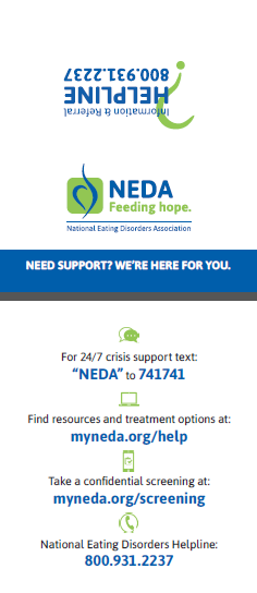 Card with contact information for NEDA Helpline